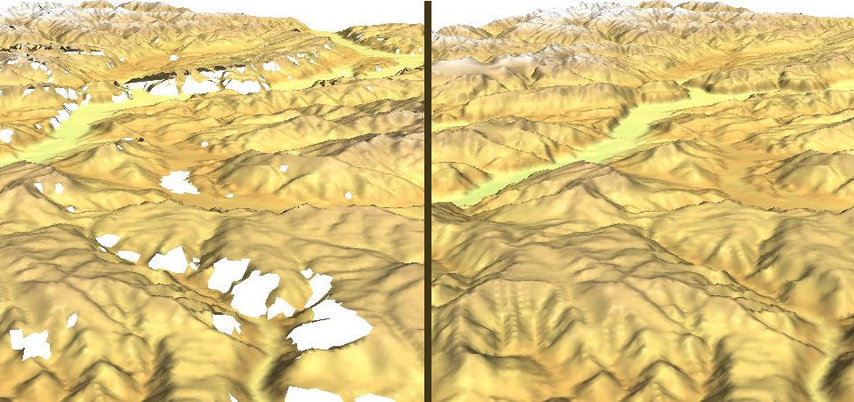 Void filling in SRTM DEM data with splines (r.fillnulls). See related article in GRASS Newsletter #3, June 2005 (screenshot: M. Neteler)